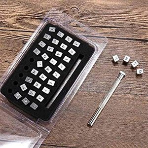 レザークラフト 刻印セット 打刻印ポンチ 36点セット アルファベット 数字 銅板 真鍮板 アルミ版 指輪 軟質の金属 レザープリントパン|heros-shop