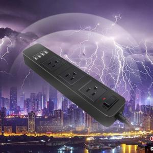電源タップ3M, 3m延長コード PSE認証済 4USB急速充電(3AC差し込み口 +4USBポート),雷ガード過負荷保護,USB節電タップ heros-shop