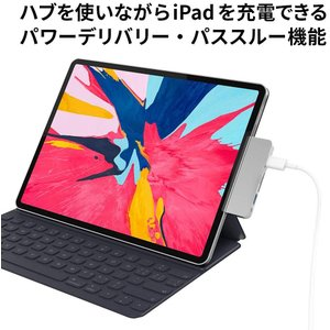 HyperDrive iPad Pro用 6-in-1 USB-C Hub スペースグレー 4K H...