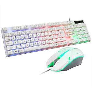 Veekiキーボード ゲーミングキーボード マウス セット LED有線 ゲームキーボード LEDバッ...