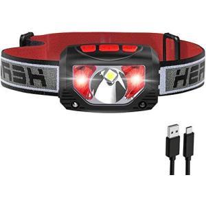 Tinzzi ヘッドライト 充電式 センサー検知 赤&白LEDライト 防水 超軽量 角度調整可 実用点灯4-10時間 最大1000ルーメン heros-shop