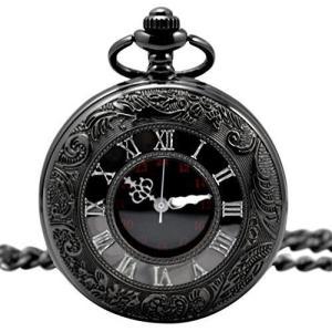 黒の懐中時計 アンティーク 懐中時計 収納ポーチ + 専用箱 付きレトロ ブラック クローム|heros-shop