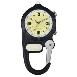 Lancardo カラビナ 時計 カラビナ ウォッチ 懐中時計 クリップ メンズ レディース アナログ 夜光 キーホルダー 時計 ポケットウ|heros-shop