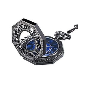 Mudder ヴィンテージ 機械式手巻きスケルトン懐中時計 チェーン付き クリスマスギフト (ブラック)|heros-shop