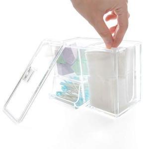 コットンケース (アクリルケース) 化粧品収納ボックス 化粧品 コットン メイクスポンジ 綿棒 などの コスメ 用品を収納可能 プラスチック|heros-shop