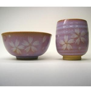 萩焼(はぎやき) お茶の間セット白い花セット(飯茶碗・湯呑)/化粧箱付|hesaka