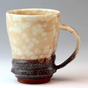 萩焼(はぎやき) 粉引末広マグカップ/豊作・化粧箱付 hesaka