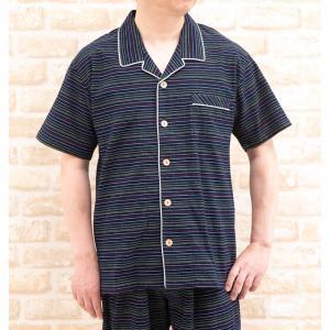 父の日ギフト無料ラッピング パジャマ メンズ夏 半袖 綿100%涼しい楊柳 前開き 初夏・盛夏向き素材の画像