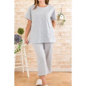 パジャマ レディース 半袖 8分パンツ 盛夏 綿100% かぶり ニット地パジャマ 女性用ナイトウェア ルームウェアの画像