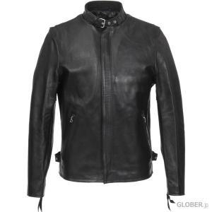 【セール】ショット/Schott:シングルライダースジャケット Solid ラムレザー ブラック|hff
