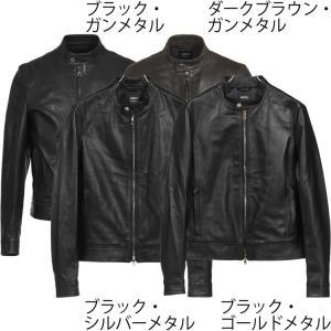 エンメティ/EMMETI:シングルライダースジャケット Juri ナッパレザー ブラック|hff