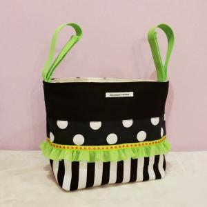 グリーンとモノクロのちょっとキッチュなベビーカー用バッグ(受注製作)|hi-inari