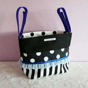 ブルーとモノクロのちょっとキッチュなベビーカー用バッグ(受注製作)|hi-inari