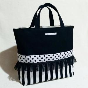 裏地巾着付き モノクロ帆布のちょっとキッチュなトートバッグ・大(受注制作) |hi-inari