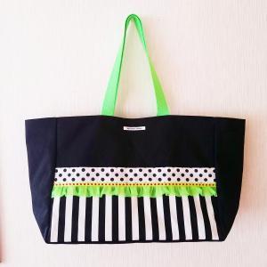 ネオングリーンとモノクロのちょっとキッチュな帆布のBIGトートバッグ(受注制作) |hi-inari