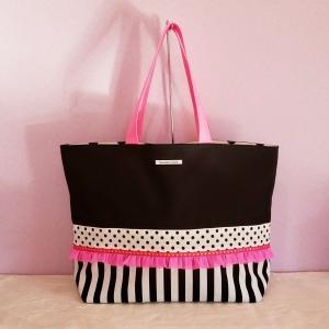帆布のビッグトートバッグ black×neon pink(受注制作))「haussement innocent」|hi-inari
