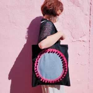 帆布のビッグトートバッグ pink×green(受注制作)「haussement innocent」|hi-inari