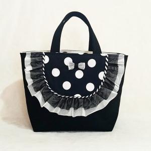 モノクロフリルと帆布のトートバッグ black(受注制作)|hi-inari