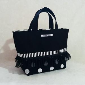 モノクロ帆布のトートバッグ(受注制作)「haussement innocent」|hi-inari