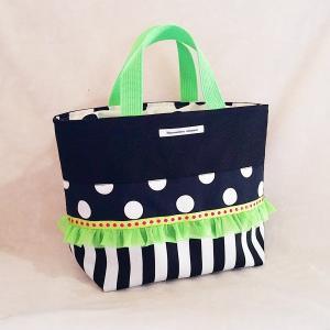 モノクロ帆布のトートバッグ neongreen(裏地巾着)お散歩バッグやちょっとしたお出掛けにも |hi-inari