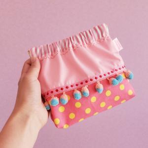 水色とピンクのボンボンバネポーチ 「haussement innocent」クロネコDM便送料無料|hi-inari