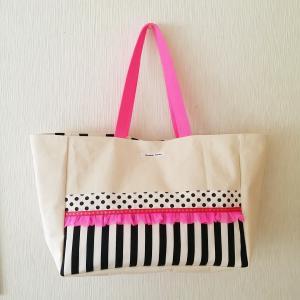 ネオンピンクとモノクロのちょっとキッチュな帆布のBIGトートバッグ(受注制作) |hi-inari