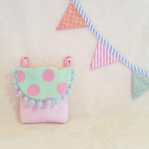 クロネコDM便送料無料 パステルカラーの移動ポケット pink×green 受注製作「haussement innocent」|hi-inari