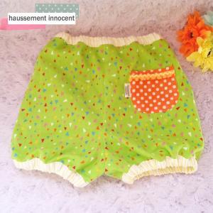 DM便送料無料 ハンドメイド ご出産お祝いにも♪ダブルガーゼのbabyかぼちゃパンツ・三角柄「haussement innocent」|hi-inari