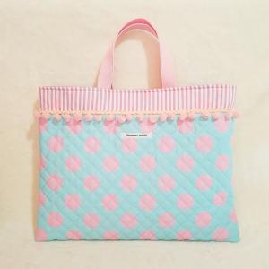 キルティングのレッスンバッグ・pink(受注製作)「hussement innocent」|hi-inari
