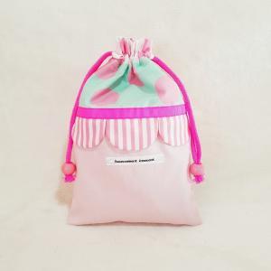 DM便送料無料 ピンクとスカラップの巾着・小(受注製作)|hi-inari
