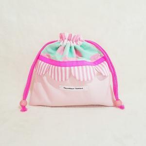 DM便送料無料 ピンクとスカラップの巾着・中(受注製作)|hi-inari