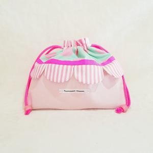 DM便送料無料 ピンクとスカラップの巾着・大(受注製作)|hi-inari