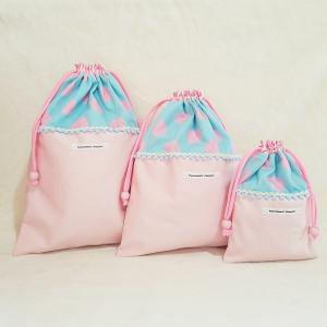 DM便送料無料 パステルカラーなミニボンボンの巾着セット|hi-inari
