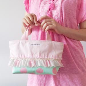 ピンク帆布の保冷保温シート付きランチバッグ green【受注製作】「haussement innocent」  hi-inari