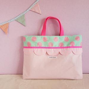 帆布とスカラップのレッスンバッグ(受注製作)「hussement innocent」|hi-inari