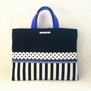 ブルーとモノクロのちょっとキッチュなレッスンバッグ バイアス black (受注製作)「hussement innocent」|hi-inari