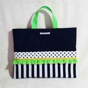 ネオングリーンとモノクロのちょっとキッチュなレッスンバッグ・black(受注製作)「hussement innocent」|hi-inari