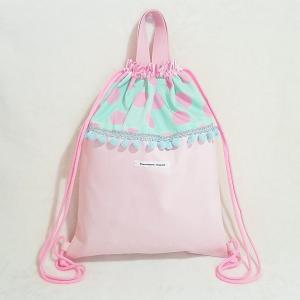 DM便送料無料 パステルカラーなドットのナップサック pinkgreen(受注制作)|hi-inari