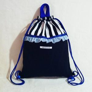 DM便送料無料 ブルーとモノクロのちょっとキッチュなナップサック・black(受注製作)|hi-inari