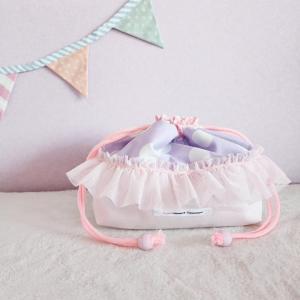 DM便送料無料 ピンクとスカラップのトートバッグ型お弁当袋(受注制作)|hi-inari