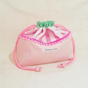 DM便送料無料 ピンクストライプとドットのお弁当袋(受注制作)|hi-inari
