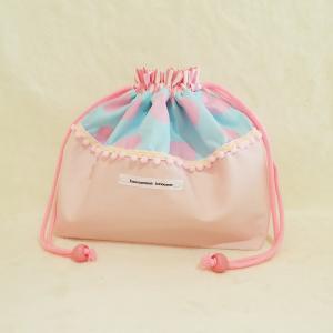 DM便送料無料 パステルカラーのピンクとドットのお弁当袋(受注制作)|hi-inari