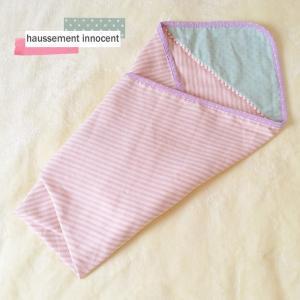 DM便送料無料 ふわふわ4重ガーゼのボンボン付きおくるみ・ピンク「haussement innocent」|hi-inari