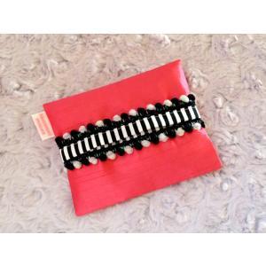 DM便送料無料 ハンドメイド ピンクシャンタンの「haussement innocent」ボンボン付きのポケットティッシュケース hi-inari
