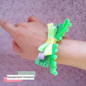 DM便送料無料 グログランリボンのネオンヘアゴム・グリーン「haussement innocent」|hi-inari
