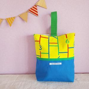 ブルーとモノクロのちょっとキッチュなシューズケース・black(受注製作)|hi-inari
