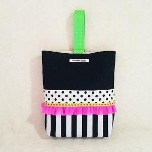 モノクロのちょっとキッチュなシューズケース pink×green(受注製作)|hi-inari
