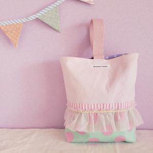 フリルとピンク帆布のシューズケース green(受注制作)|hi-inari