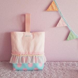 フリルとピンク帆布のシューズケース blue(受注制作)|hi-inari
