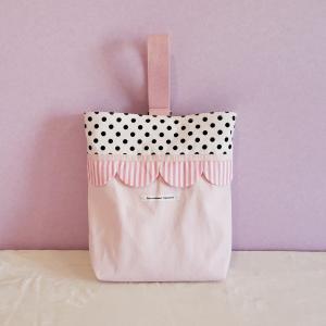 帆布とスカラップのシューズケース pink クロネコDM便送料無料 hi-inari